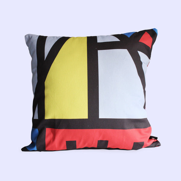 Bauhaus design with red, yellow and blue scatter cushion