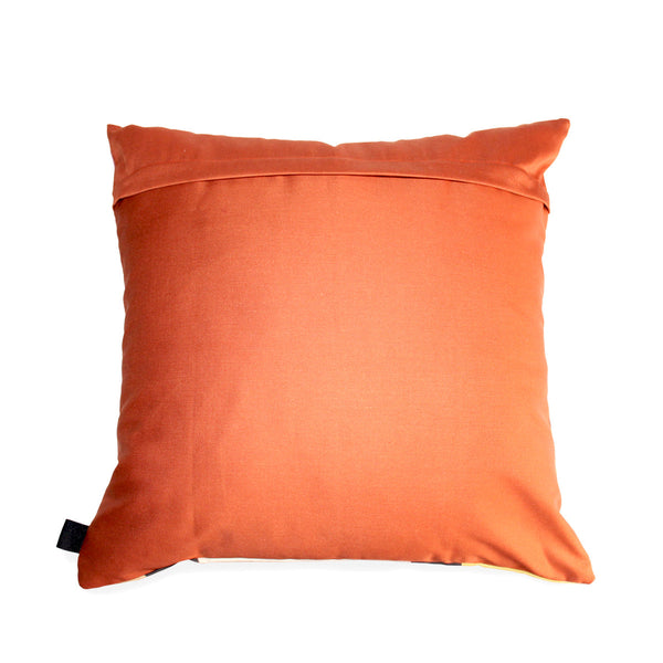 Rich African scatter cushion in a deep orange cotton background to compliment rich African colours