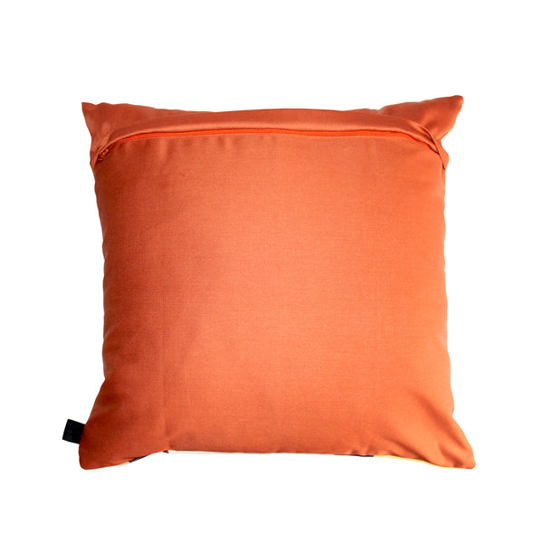Rich African scatter cushion deep orange cotton background with detailed zip
