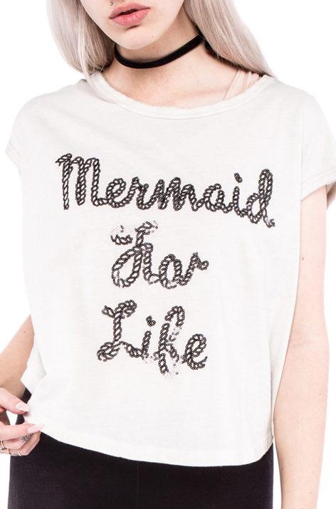 Mermaid For Life Oversized Crop Tee