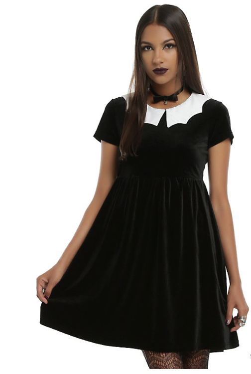 Bat Collar Velvet Dress