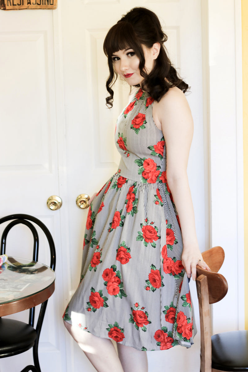 3653 Stripes & Roses Dress