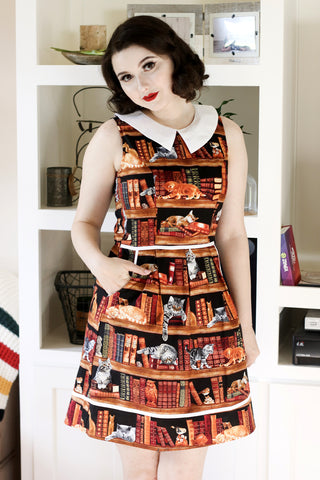 3773 Cats on Bookshelves Dress