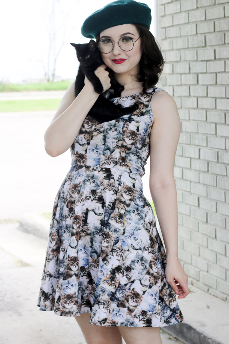 3779 Realistic Cats Skater Dress