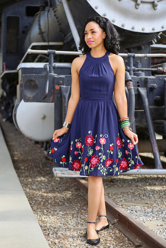 embroidered floral retro dress
