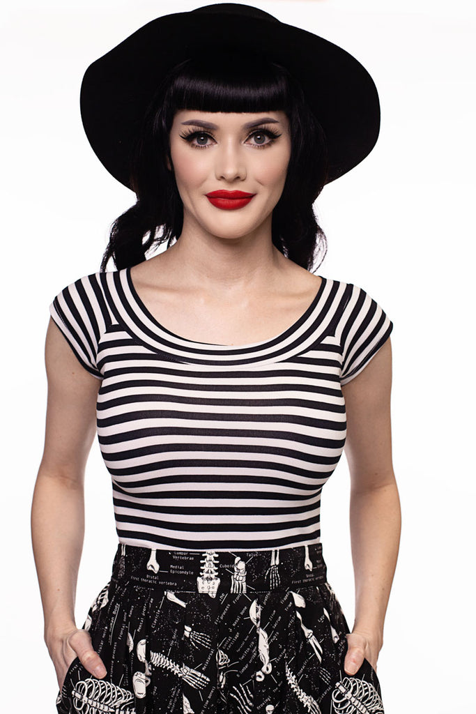 3826 Striped Boat Neck Top in Black