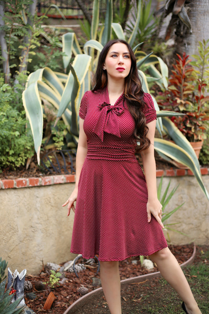 3851 Swing Dress in Burgundy Dots