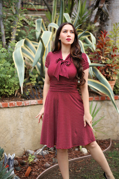 3851 Swing Dress in Burgundy Dots - Plus Sizes Only