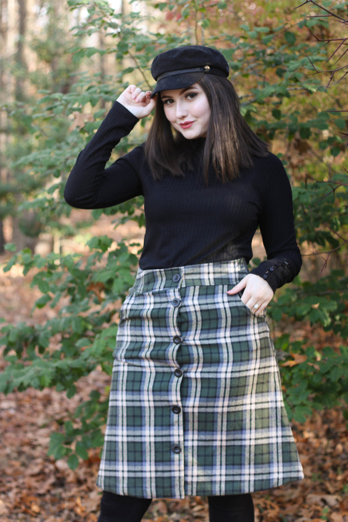 3857 Jackie Skirt in Olive Plaid