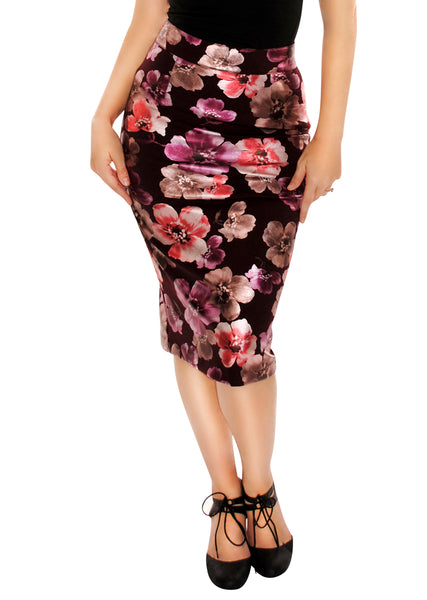 3894 Boss Lady Pencil Skirt in Floral