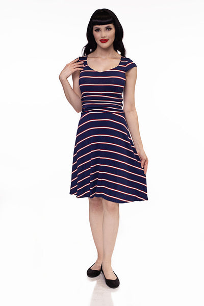 3971 Amelia Dress in Navy Stripes