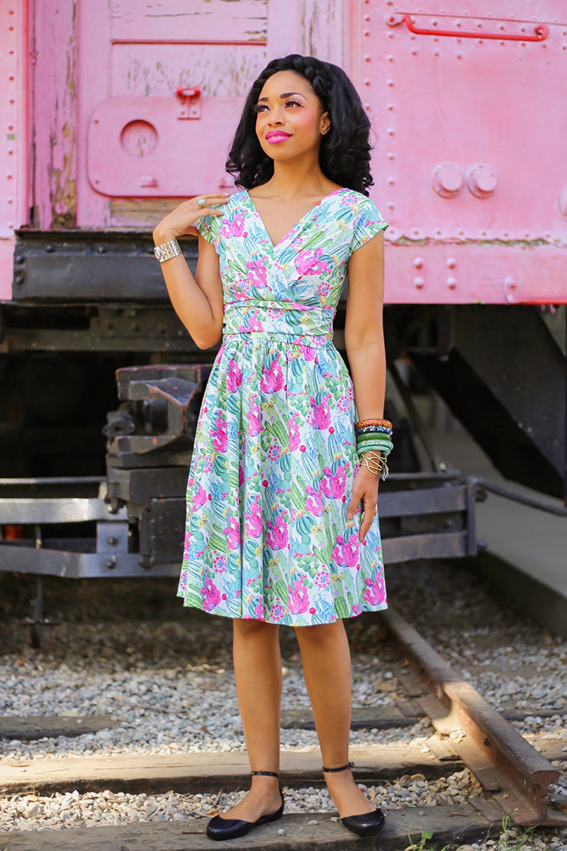 vintage style cactus print summer dress
