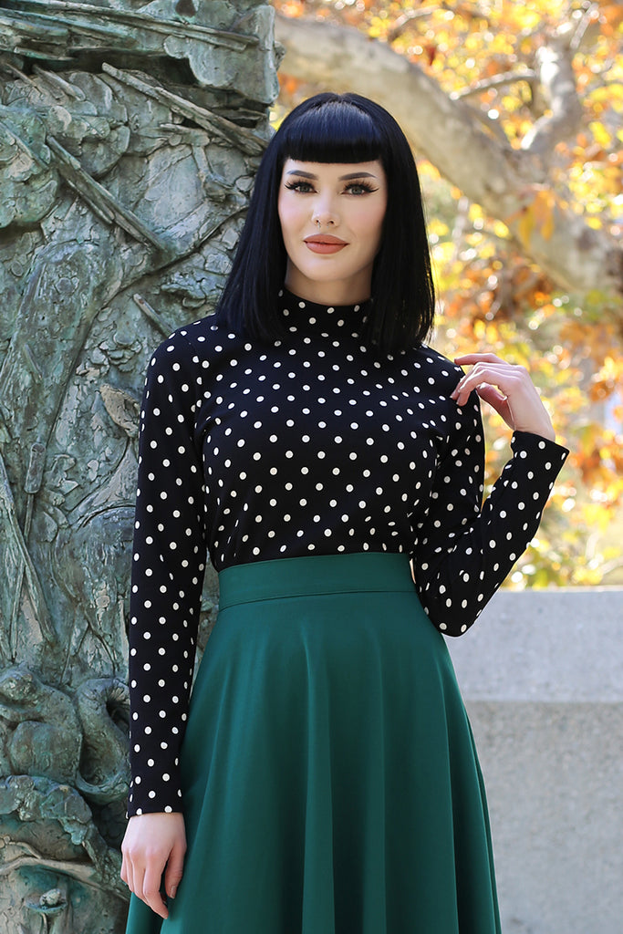 3994 Polka Dot Mock Neck Top