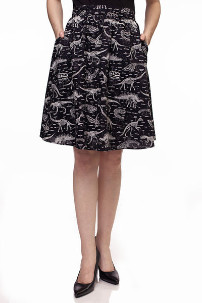 4014 Glow in the Dark Dino Bones A-Line Skirt