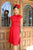 Three quarter length shot of model wearing a red vintage dress