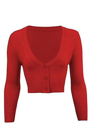 Cropped Cardigan in Red