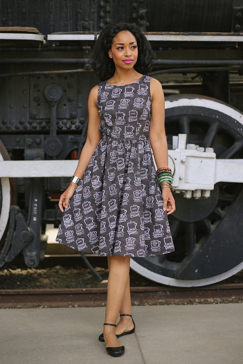 Coffee lovers vintage style dress