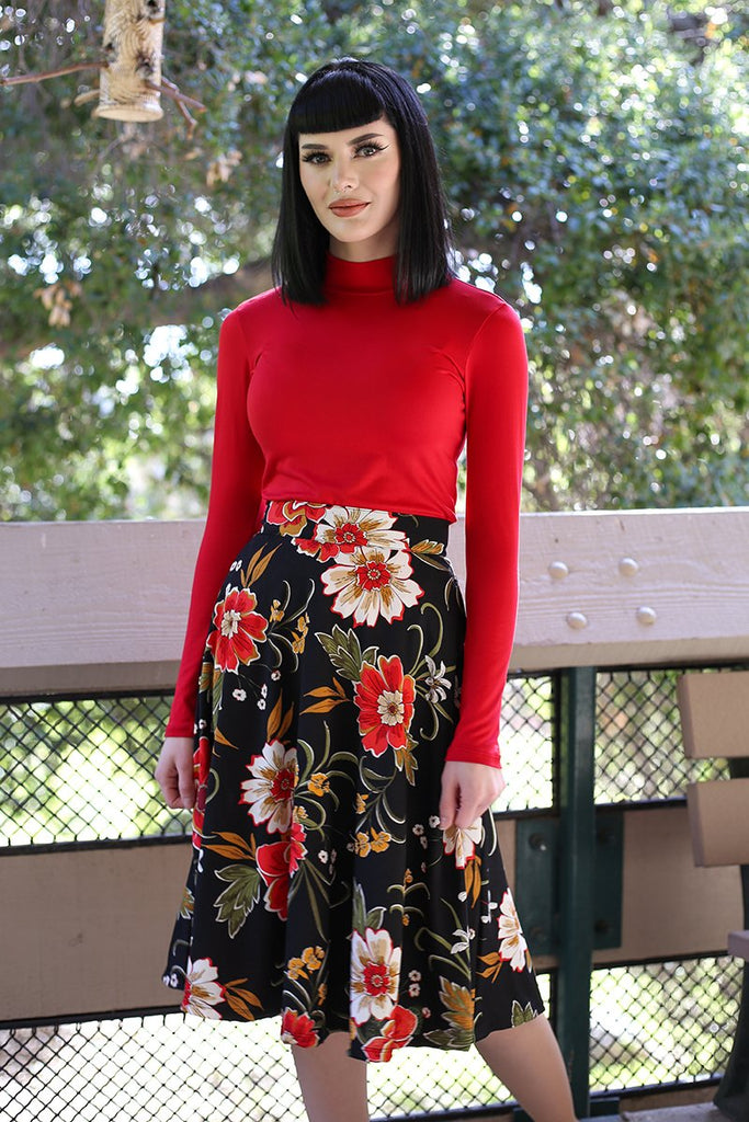 4132 Charlotte Skirt in Black Floral