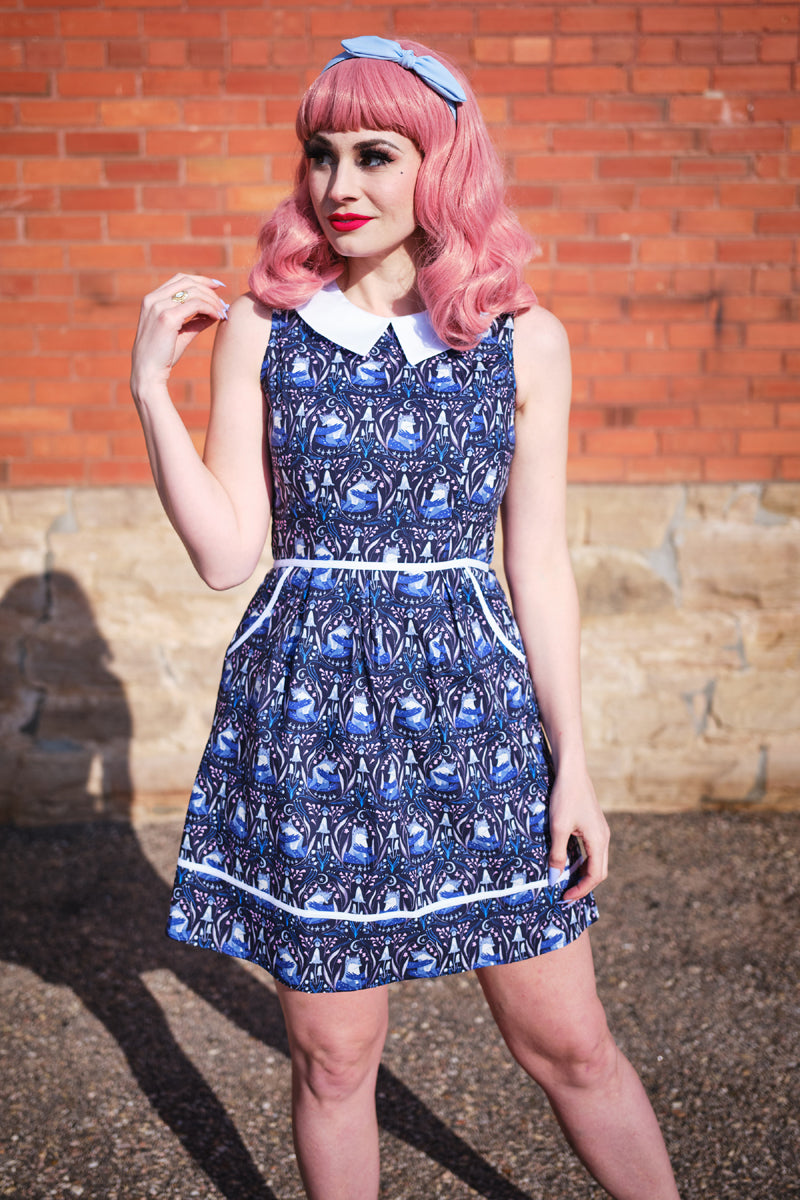 4291 Foxes Collared Dress