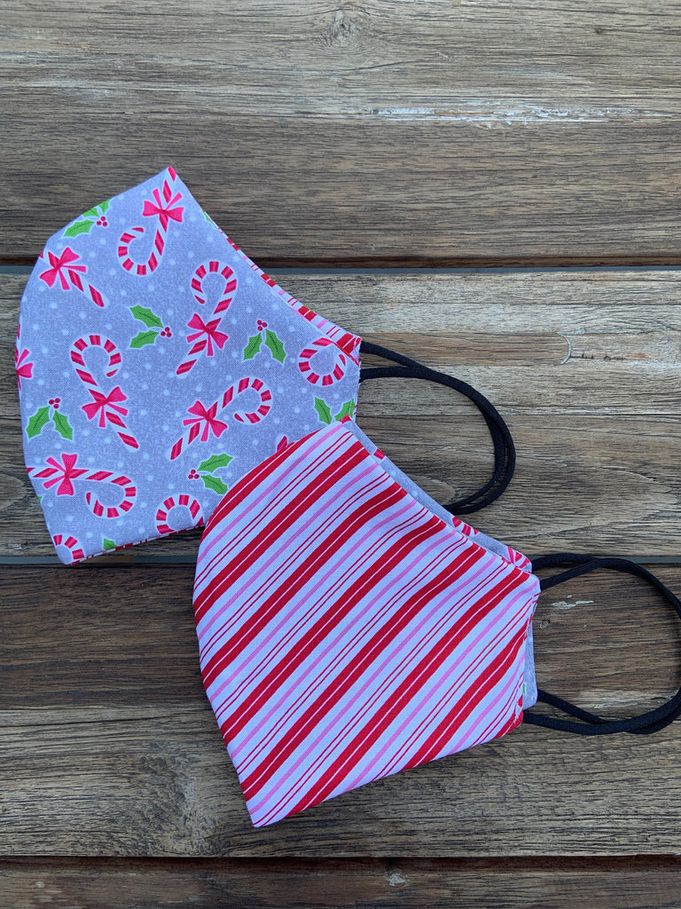 Candy Cane / Candy Stripes Reversible Mask - 1 left!