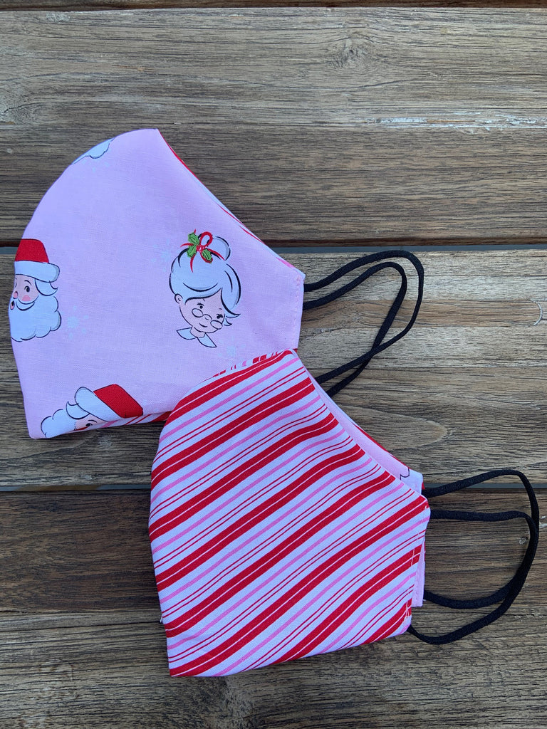Mr. & Mrs. Claus / Candy Stripes Reversible Mask