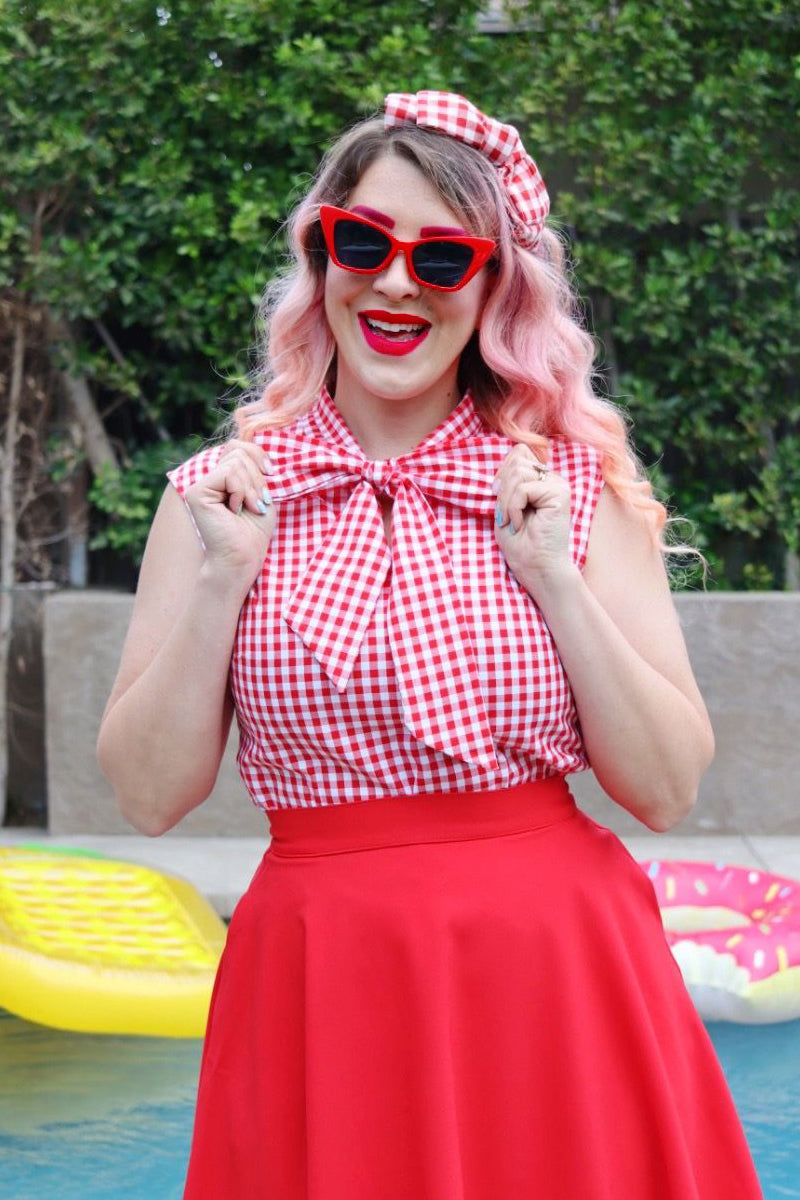 4460 Strawberry Gingham Bow Top