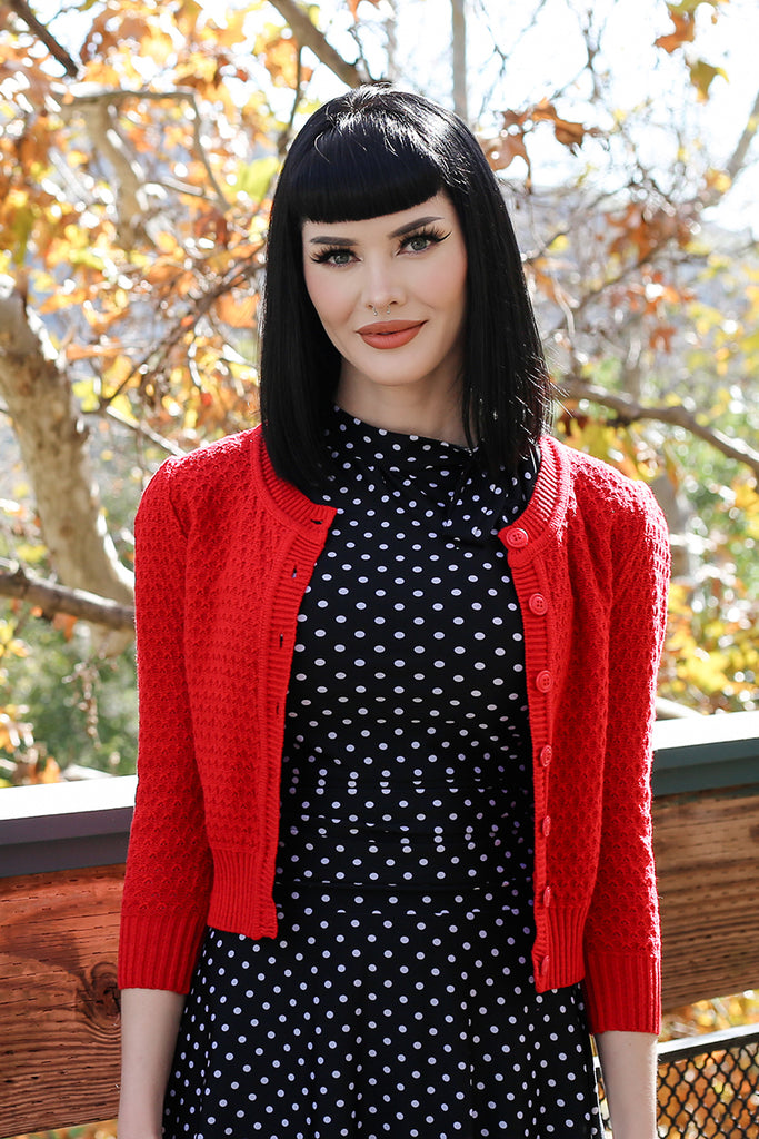 4140 Waffle Cardigan - in Red and Black