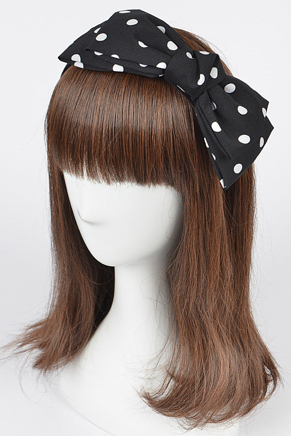 Black Polka Dot Bow Headband