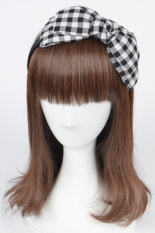Black Gingham Ribbon Headband