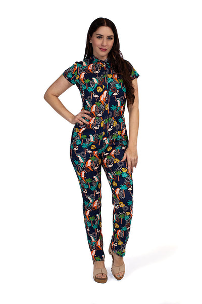 3933 Tropical Birds Jumpsuit