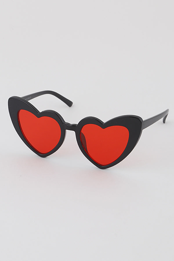 Black & Red Heart Sunglasses