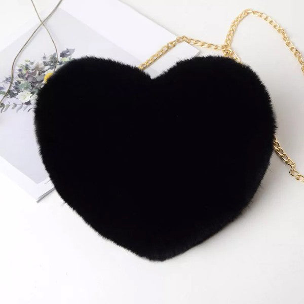 Be Mine Crossbody Heart Bag in Black