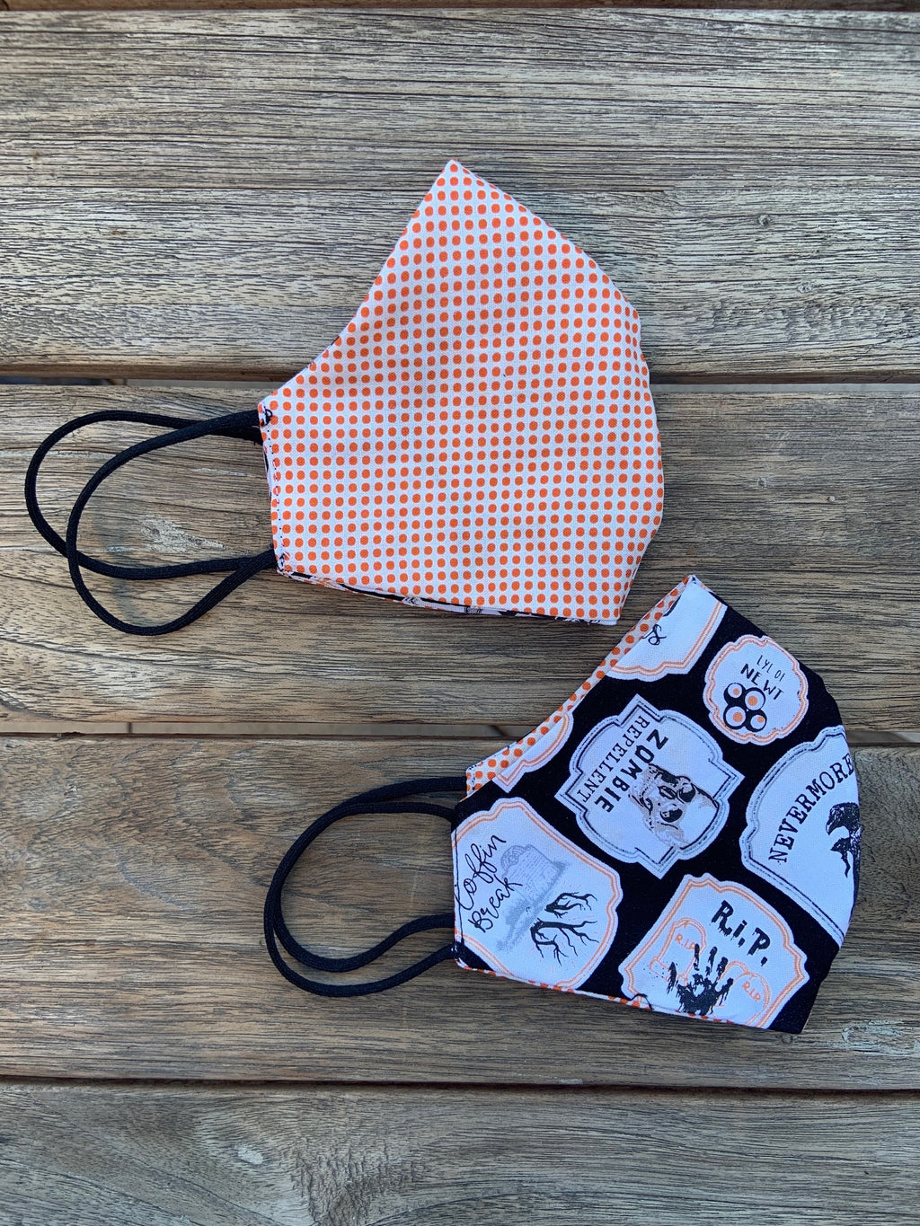 Ghoulish/Polka Dot Reversible Cotton Mask