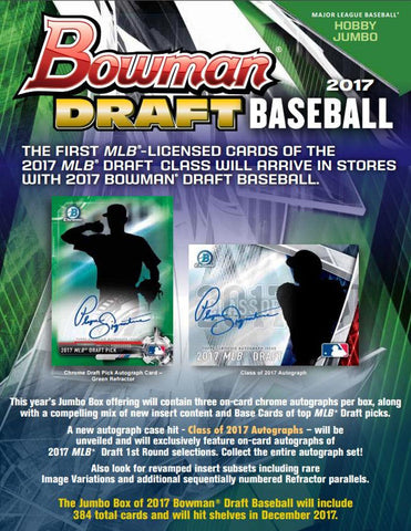 5x 2017 Bowman Draft 4 JUMBO, 1 SUPER JUMBO Case Break 126 Autos