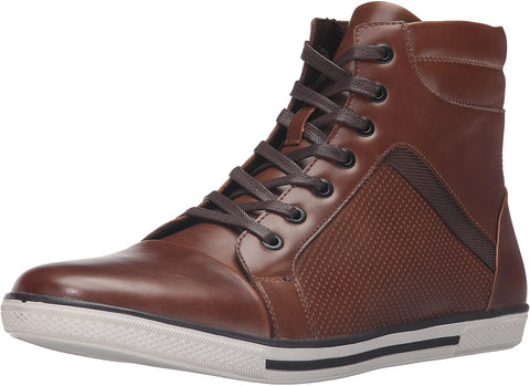 Kenneth Cole CROWN WOTHY HI Top Athletic Men's Brown Leather Shoe Sneaker