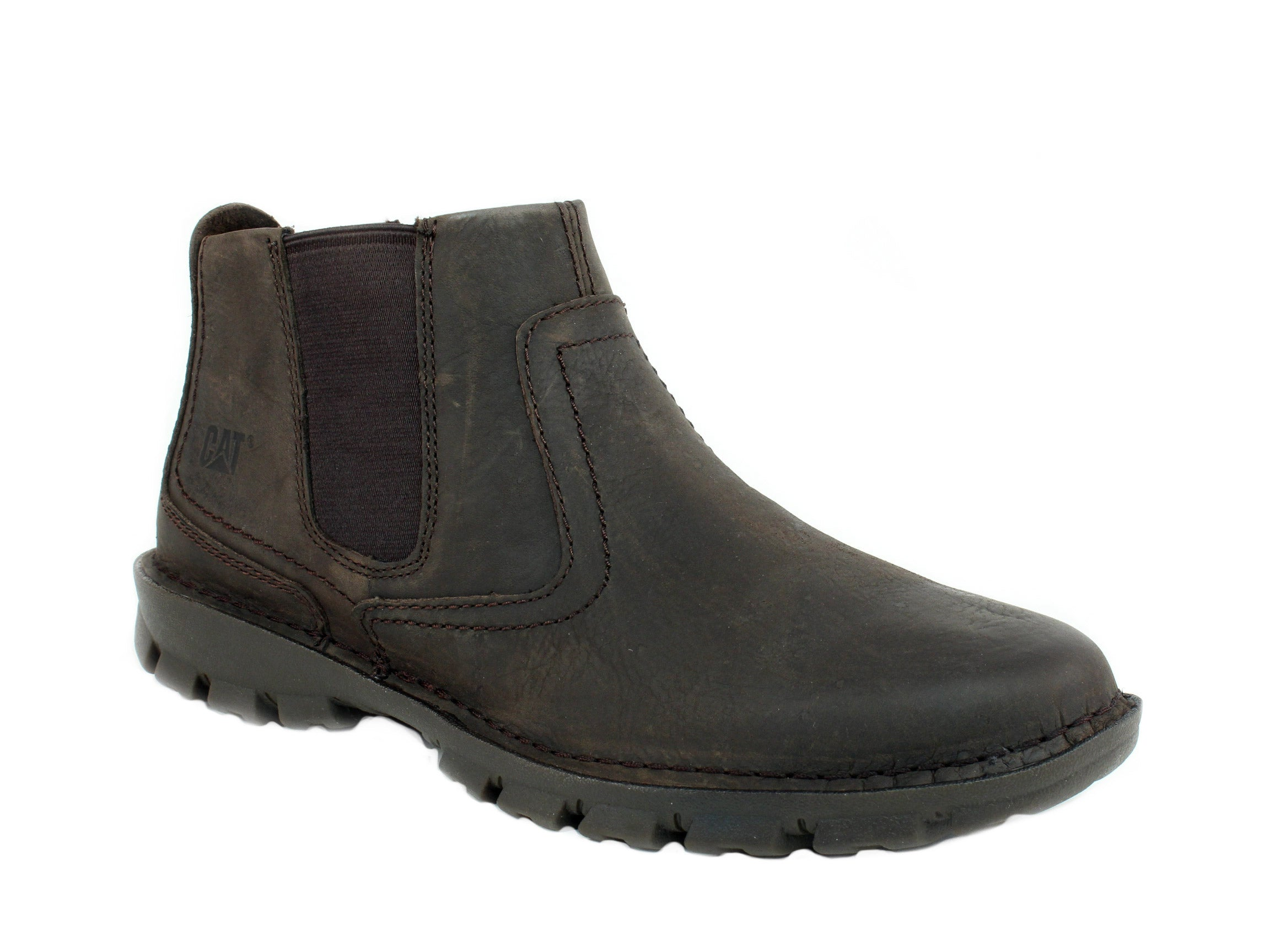Caterpillar Hoffman Pull On Men's Work Casual Black Coffee Leather Nubuck Boots