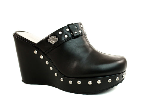 Harley Davidson Coral Women's Wedges Black Leather