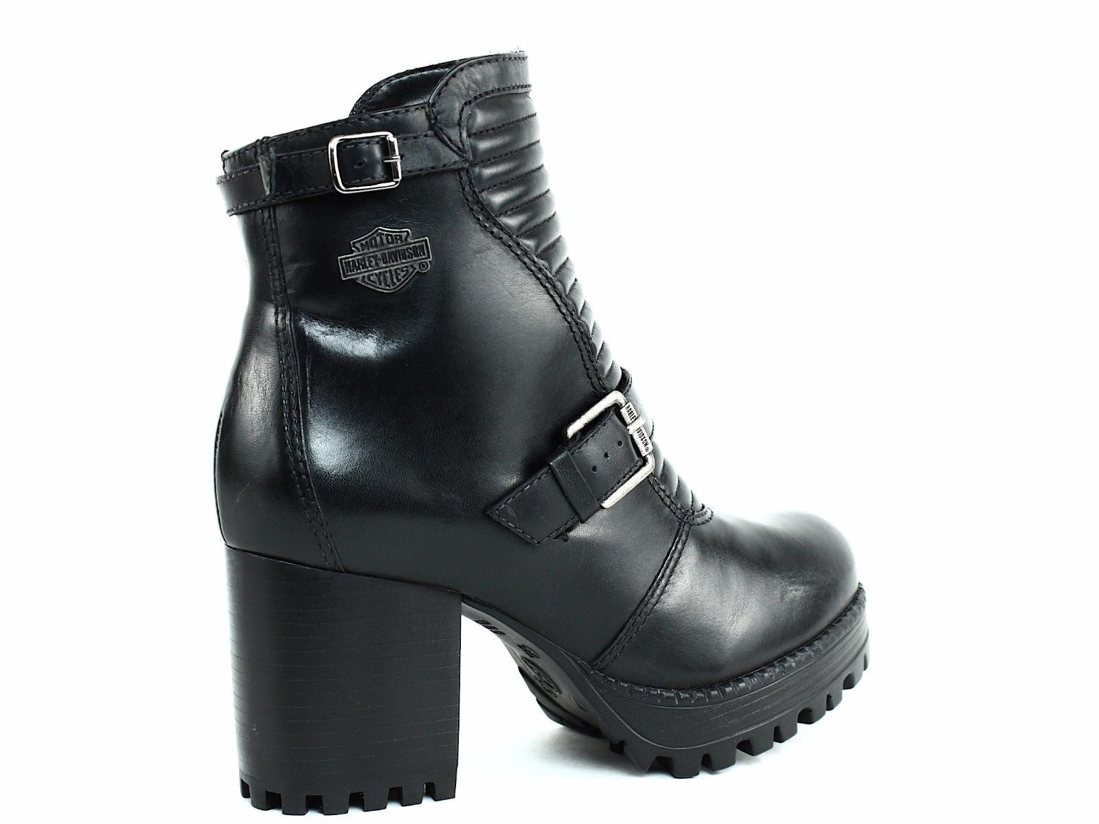 d90ba2e3435eeb Harley Davidson CANELL Women s Ankle Platform Zip Buckle Black Leather Boot