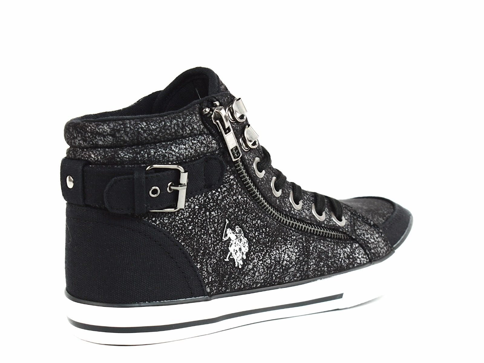 US POLO AssnCADY High Top Womens Casual Lace Up Black Textile Shoes  Sneakers