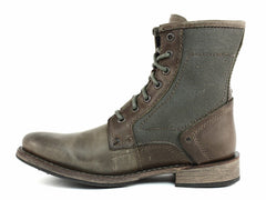 Caterpillar ABE CANVAS Men's Classic Lace Up Casual Grey Leather Canvas Boot