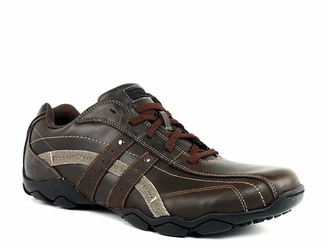 Skechers BLAKE Oxford Men's Work Casual Brown Leather Shoes Sneakers
