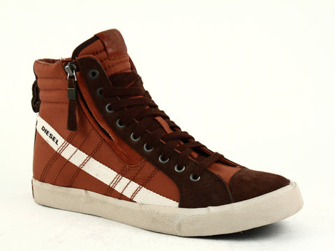 Diesel D-STRING Men's High Top Casual Fashion Sneakers Brown Brick