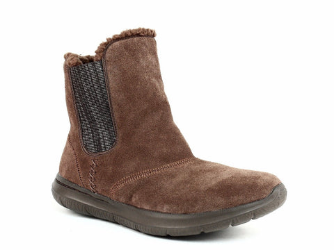 Skechers Women's GO WALK CITY Casual Ankle Winter Warm Brown Suede Boots