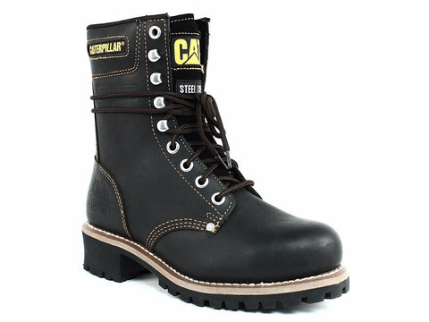 "Caterpillar LOGGER 9"" ST Steel Toe Slip Resistant Men's Work Black Leather Boot"