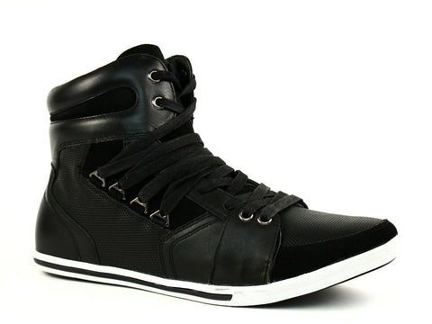 Kenneth Cole GOT A WAY LE HI Top Athletic Mens Black Leather Shoes Sneakers