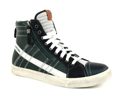 Diesel D-STRING Men's High Top Casual Fashion Leather Sneakers Blue Nights Green
