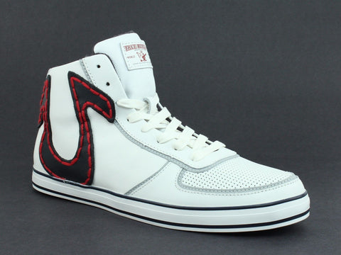 True Religion ACE HI Leather Men's Casual Fashion White Navy Sneakers