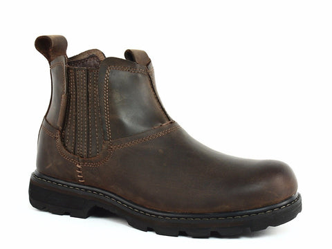Skechers Blaine ORSEN Pull On Men's Work Casual Dark Brown Leather Boots
