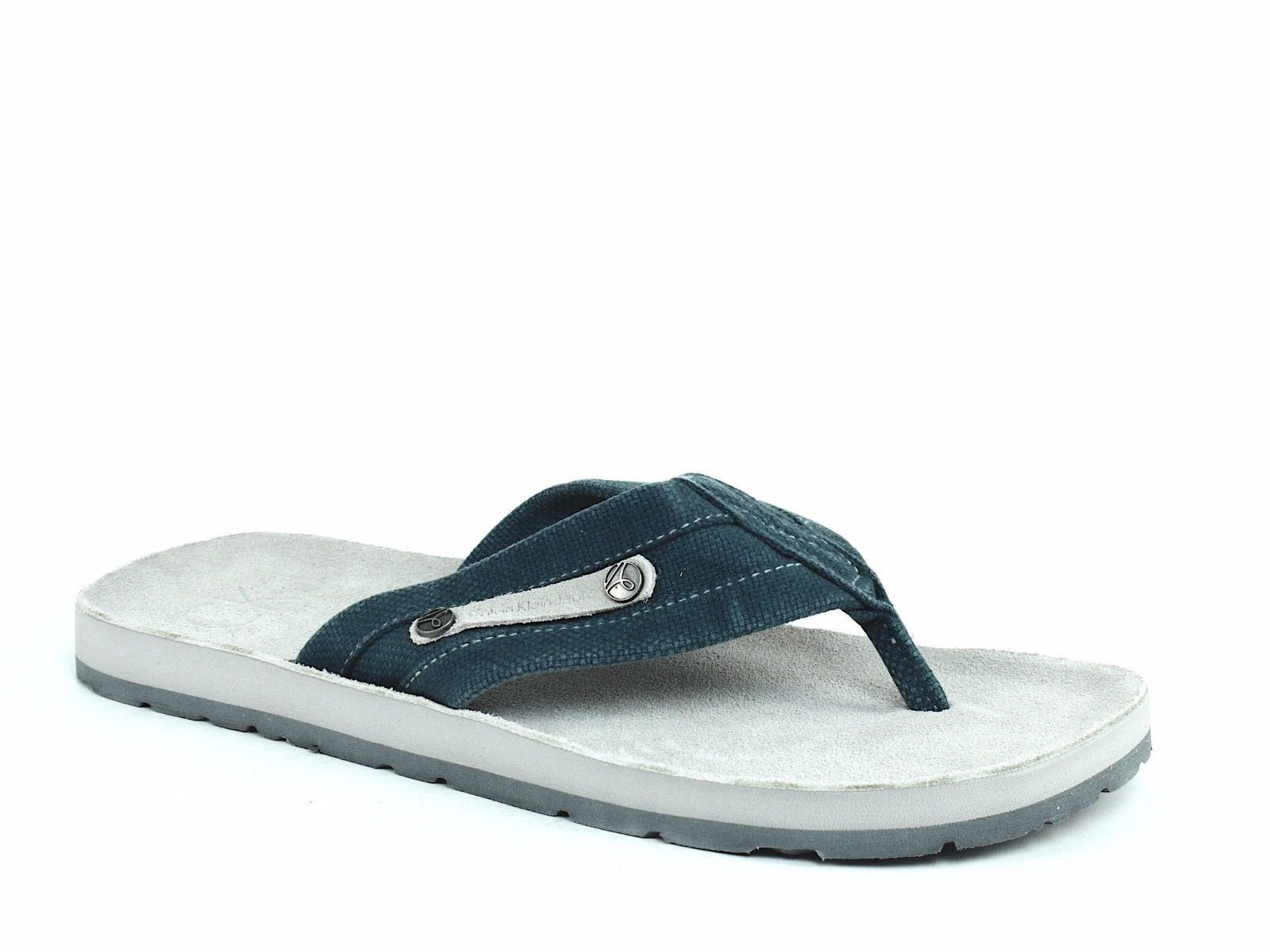 Calvin Klein BEN CANVAS Mens Flip Flop Sandals Blue Canvas Suede