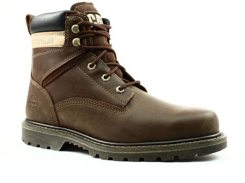 "Caterpillar Rangler MR 6"" Slip Resistant Men's Work Dark Beige Leather Boots"